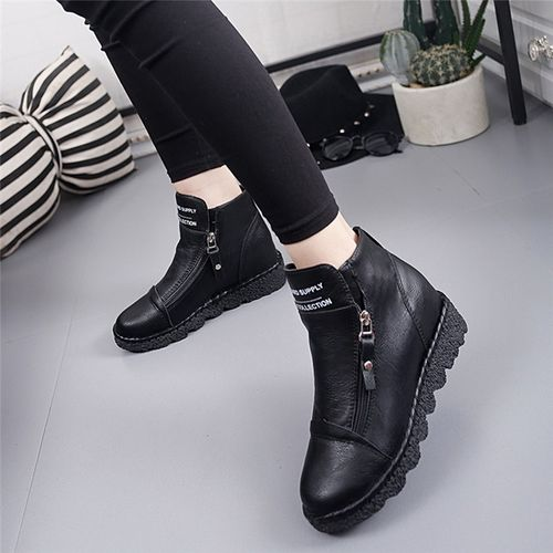 Womail Boots Women Plus Size Retro Leather Ankle Zipper Women's Boots Casual Round Toe Low-Heele Non-Slip Roman Short Botas Mujer 9#4
