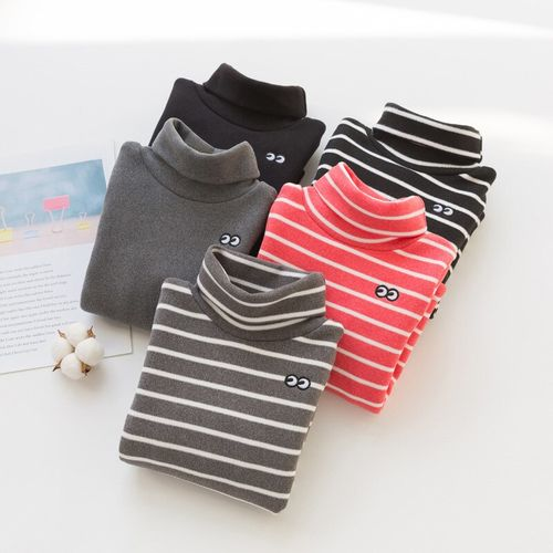 Winter Warm Fleece Children's Turtleneck T-shirt Striped Boys and Girls Tops Kids Warm T Shirt for Girls