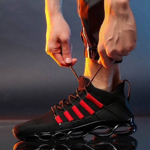 damyuan New Black & Red Rubber Lace-up Running Shoes