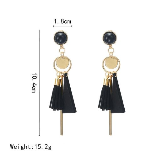 TMXK angel Personality Fashion triangle geometric wood earrings Retro female tassel long women earrings Jewelry