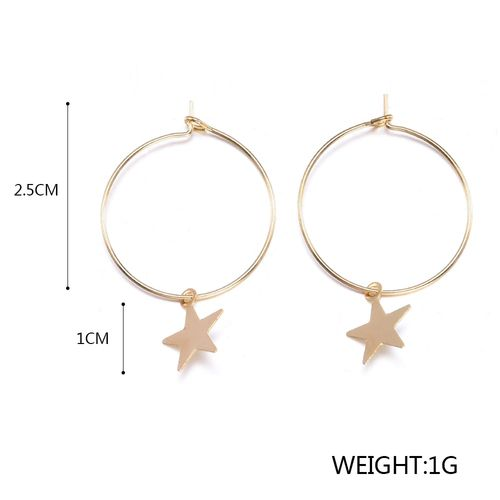 yanqueens Women Bohemia Simple Large Circle Star Drop Earrings Boho Women Elegant Earring Jewelry