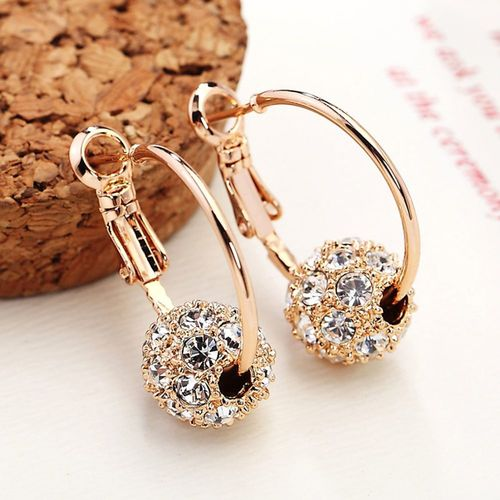 OPPOHERE Fashion Austrian Crystal Ball Gold/Silver Earrings High Quality Earrings For Woman Party Wedding Jewelry Boucle D'oreille Femme