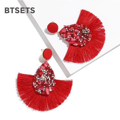BTSETS Colorful Crystal Tassel Earrings For Women Charm Earings Fashion Jewelry Wedding Bridal Statement Fringe Earring