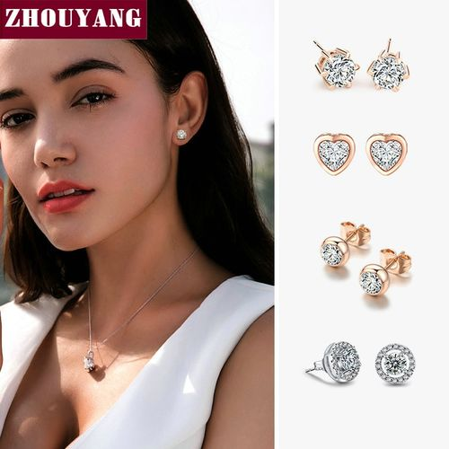 ZHOUYANG Stud Earring For Women 27 Style Classic Cubic Zirconia Wedding Rose Gold Color & Silver Color Fashion Jewelry E035