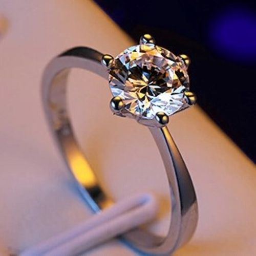 YUEYIN Classic Six Claw Gold Color Ring AAA Austria Crystal Wedding Ring for Bridal Christmas Gift for Women Jewelry Engagement Ring