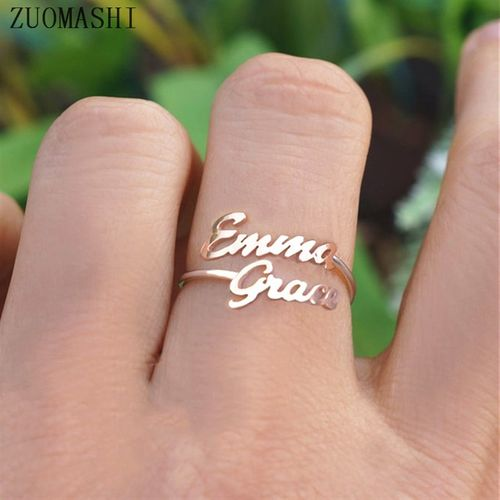ZUOMASHI Double Name Ring Custom Two Name Rings Personalized Baby Names Couples Names on Ring New Mom Gift Mother Daughter Family Ring