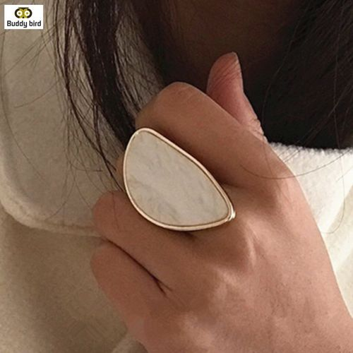 BUDDY BIRD Fashion woman rings acetate plate big ring oval acrylic resin geometry rings Trendy adjustable Geometric Wedding gift rings