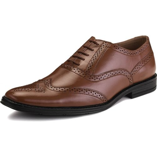 LOUIS STITCH LOUIS STITCH Men's Formal Leather Tan Brogue Shoes Handmade Finest Quality Genuine Leather Shoes for Men Featherly Comfortable Gunmetal Strong