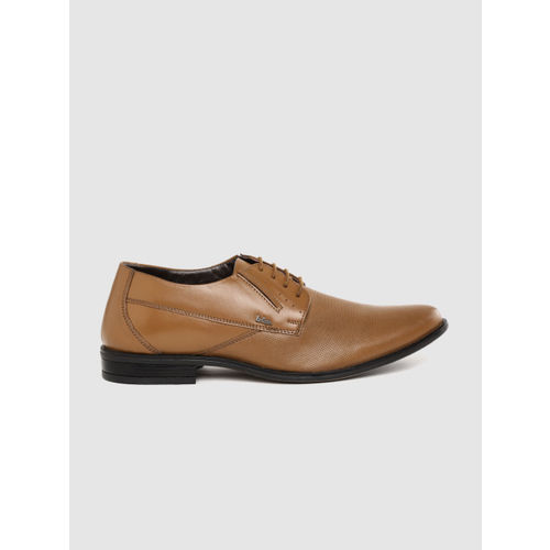 Lee Cooper Men Tan Brown Textured Formal Leather Derbys