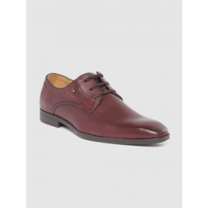 Louis Philippe Men Burgundy Leather Formal Derbys