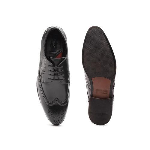 Carlton London Men Black Textured Formal Brogues