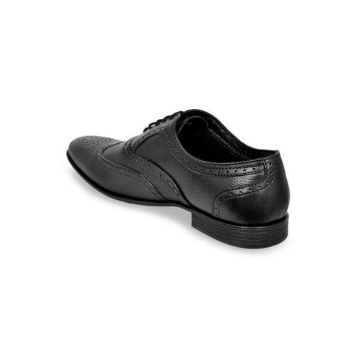 Allen Cooper Men Black Textured Leather Formal Brogues