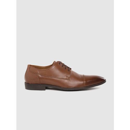 Lee Cooper Men Brown Leather Formal Derbys
