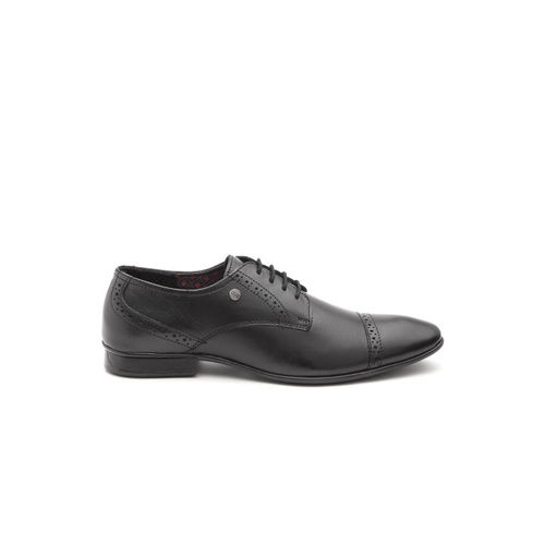Carlton London Men Black Leather Formal Brogues