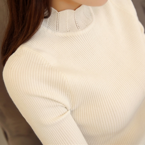 HappDreeSo 2019 Korean Fashion Women Sweaters and Pullovers Sueter Mujer Ruffled Sleeve Turtleneck Solid Slim Sexy Elastic Women Tops