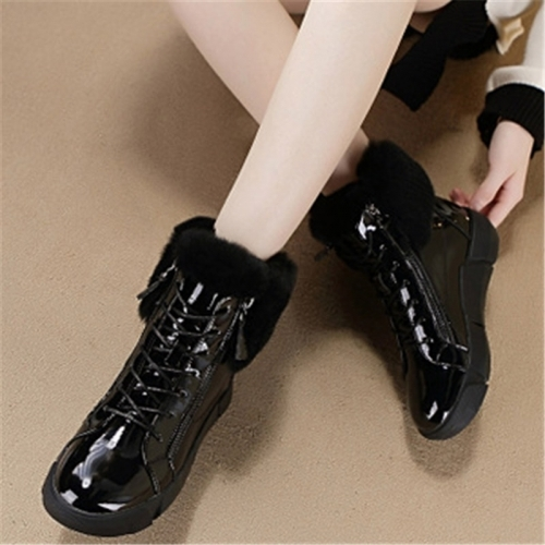 SWYIVY  Women Round-toe Lace-up Rubber Snow Ankle Boots