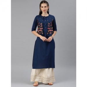 ALENA Navy Blue Floral Embroidered Layered Straight Kurta