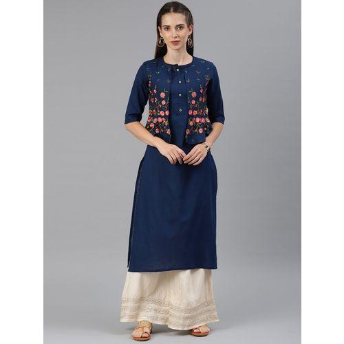 ALENA Navy Blue Floral Embroidered Layered Straight Kurta