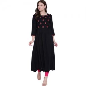 Gulmohar Jaipur Women Embroidered Flared Kurta(Black)