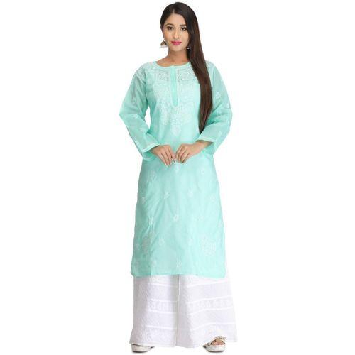 Ada Women Chikan Embroidery, Embroidered Straight Kurta(Green)