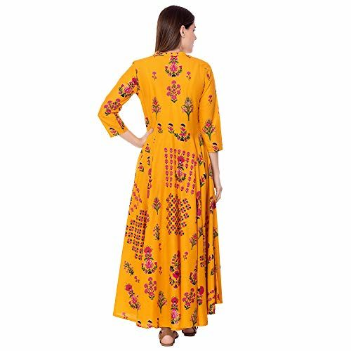 Gulmohar Jaipur Yellow Rayon Floral Print Flared Kurta