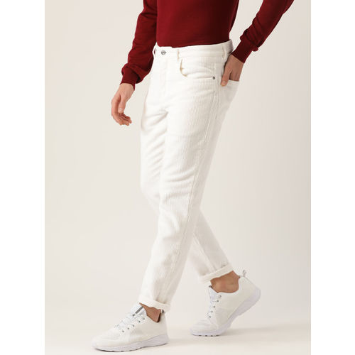 MANGO MAN Men White Tapered Fit Corduroy Solid Cropped Regular Trousers