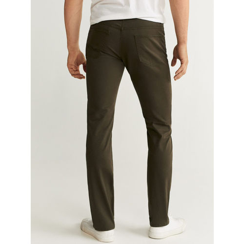 MANGO MAN Olive Green Pisa Slim Fit Solid Regular Trousers