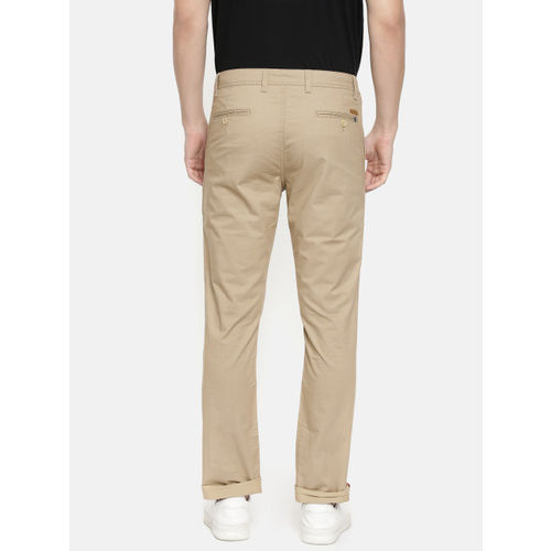 John Players Men Khaki Slim Fit Printed Regular Trousers