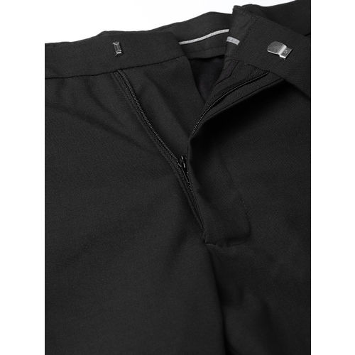Marks & Spencer Men Black Skinny Fit Solid Regular Trousers