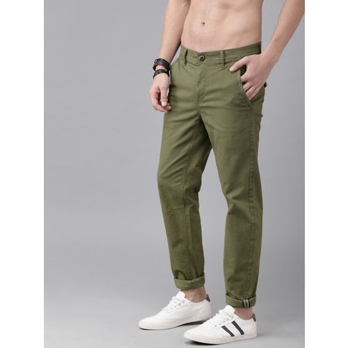 Roadster Men Olive Green Regular Fit Solid Chinos