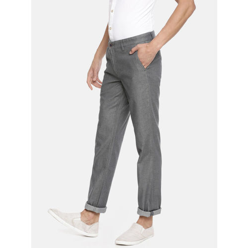 John Players Men Charcoal Grey Slim Fit Self Design Regular Trousers