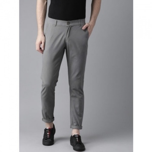 Hubberholme Men Grey Slim Fit Solid Chinos