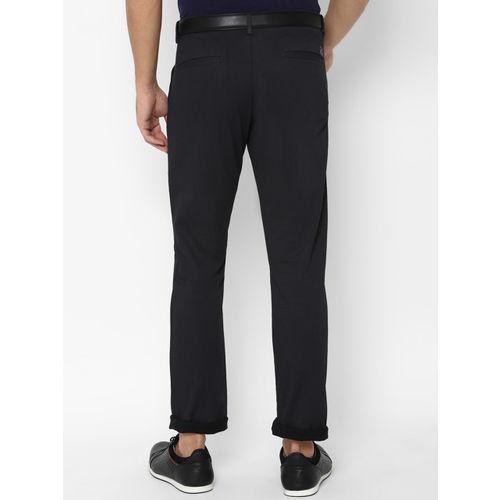 Allen Solly Men Black Slim Fit Self Design Regular Trousers
