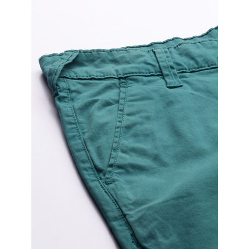 HERE&NOW Men Teal Green Slim Fit Solid Chinos