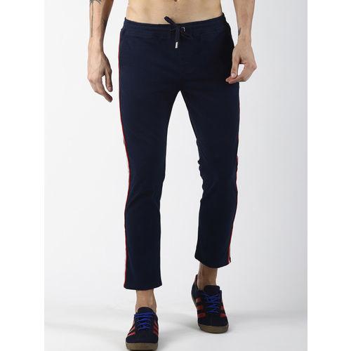 Blue Saint Men Navy Blue Slim Fit Solid Regular Trousers