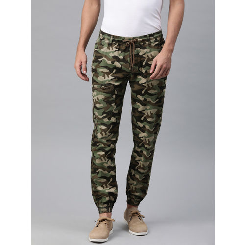 IVOC Men Green & Brown Slim Fit Camouflage Printed Joggers