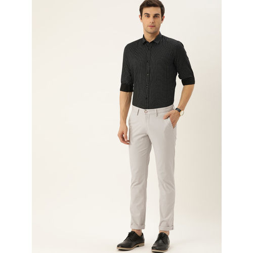 Allen Solly Men Grey Smart Slim Fit Solid Chinos
