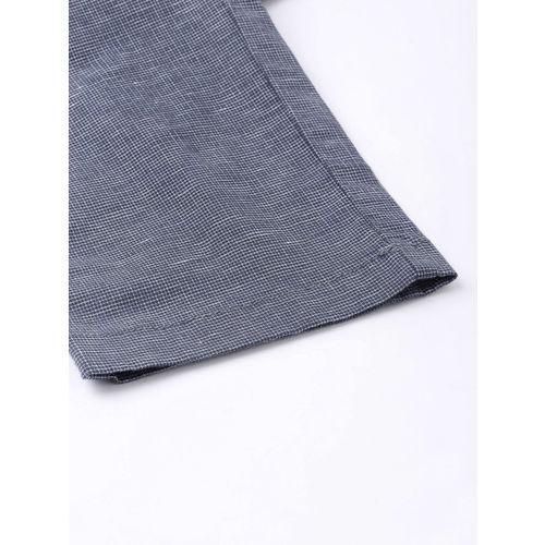 U.S. Polo Assn. Men Navy Blue & White Denver Slim Fit Self Design Regular Trousers