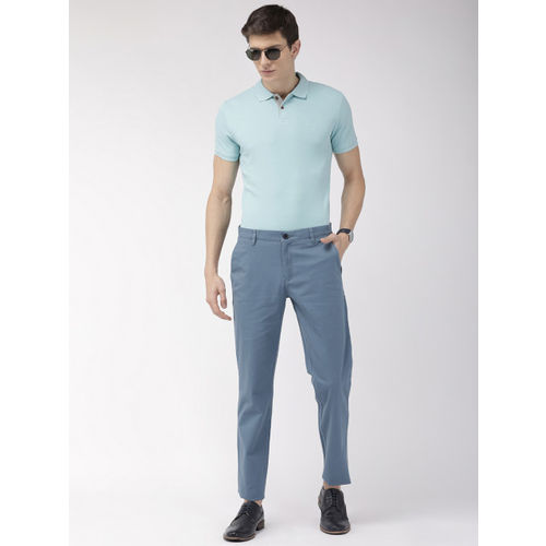 Raymond Men Blue Slim Fit Solid Regular Trousers