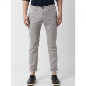 Peter England Casuals Men Grey Slim Fit Self Design Regular Trousers