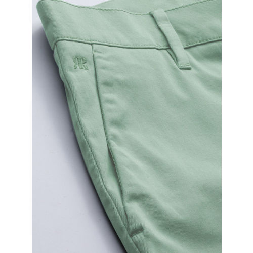 Raymond Men Sea Green Slim Fit Solid Chinos