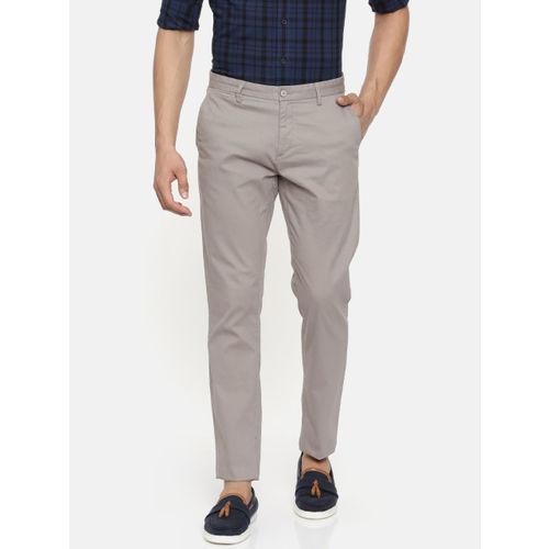 U.S. Polo Assn. Men Grey DENVER Slim Fit Self Design Regular Trousers