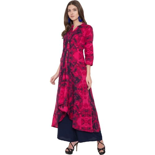Metro Fashion Women Leheriya A-line Kurta(Pink)