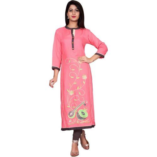 Metro Fashion Women Embroidered Straight Kurta(Pink)