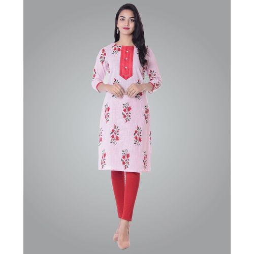 Metro Fashion Women Printed Straight Kurta(Red, Green, Pink)