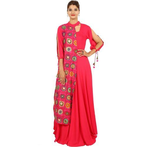 Metro Fashion Women Floral Print Flared Kurta(Pink)