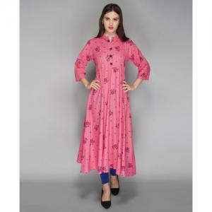 Metro Fashion Women Floral Print Anarkali Kurta(Pink)