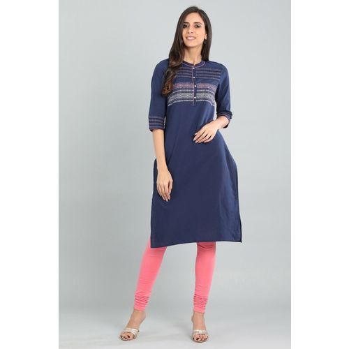 Aurelia Women Printed Straight Kurta(Blue, Pink)