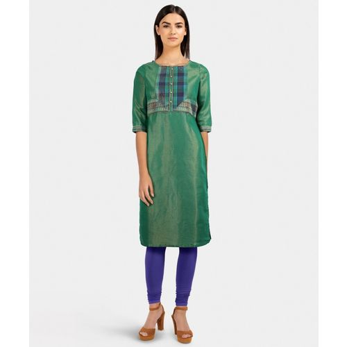 Aurelia Women Printed Straight Kurta(Green)