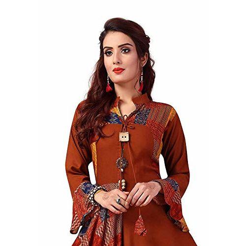 Madhuram textiles Brown Printed Anarkali Kurta
